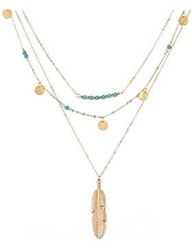 LUOEM Mehrlagige Kette Türkis Halskette mit Feder Pendent