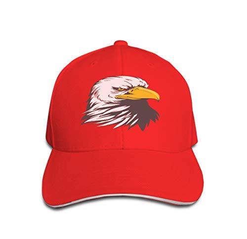 Adjustable Hat Baseball Flat Bottom Cap Bald Eagle Head Cartoon Image Simple Color Very Good Design nee red