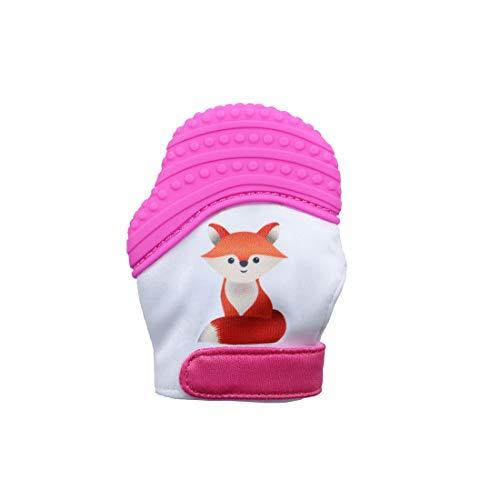 VIVOSUN Baby 1er Zahnen Handschuhe Schmerzlinderung Fäustling BPA Frei Silikon Zähne Beißring Zahnungshilfe für Neugeborenen Fuchs Rosa
