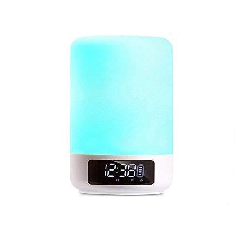 TYXQ Nachttisch Touchlampe, Digital Wecker Bluetooth Lautsprecher Nachttischlampe,Dimmbares LED Nachtlicht,Alarm,USB-Ladeanschluss, Schlummerfunktion,Aux, TF-Karte Spielen,Hands-Free Call