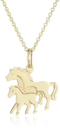 Xaana Kinder und Jugendliche Halskette Anhänger Pferd 8 Karat (333) Gelbgold  + 925 Silber Kette vergoldet 36-38 cm AMZ0191