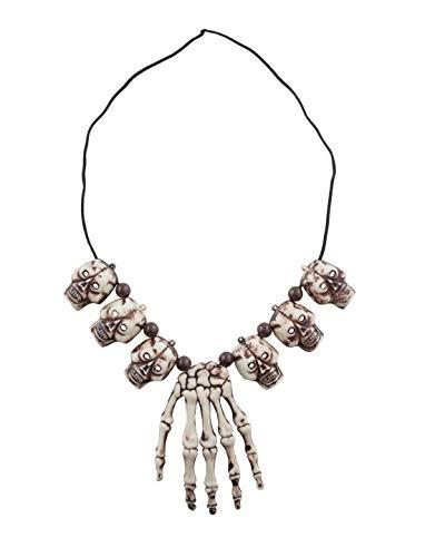 Luxuspiraten - Kostüm Accessoires Zubehör Kannibalen Voodoo Halskette mit Knochen und Totenkopf, Necklace with Skulls and Bones, perfekt für Halloween Karneval und Fasching, Weiß