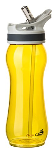 AceCamp TRITAN Traveller Trinkflasche mit Strohhalm, 600ml, Gelb, 15532