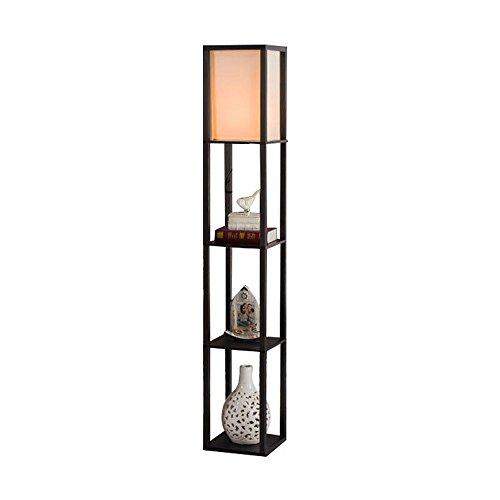 QIANGUANG Lampadaire en bois de 1,6 m avec étagères pour chambre et salon (sans ampoule) (Black)