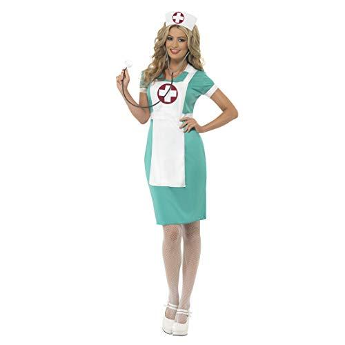 Hebamme Kostüm - NET TOYS Krankenschwester Kostüm | Türkis-Weiß in Größe S/M (34 - 40) | Schickes Damen-Outfit OP-Schwester | EIN Blickfang für Fasching & Karneval