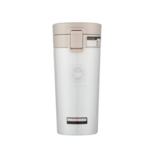 YiLianDa Taza Viaje Acero Termo Taza de café BPA-free 100% a Prueba de Fugas Blanco(320ML)