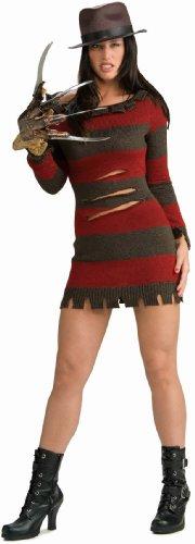 Frauen Kostüm, sexy Freddy Krueger mit Hut, Handschuh und kurzem - Freddy Krueger Kostüm Schuhe