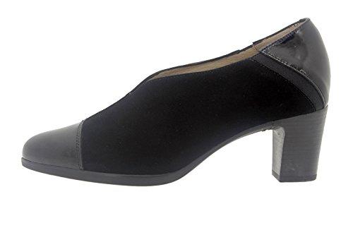 Scarpe donna comfort pelle Piesanto 7454 casual comfort larghezza speciale Negro