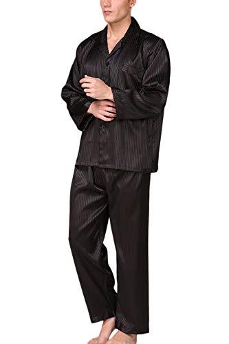 Männer Seide Pyjama Setzen Lange Ärmel Satin - Soft - Button - Down - Nachtwäsche Anzug schwarz M - Satin Anzug