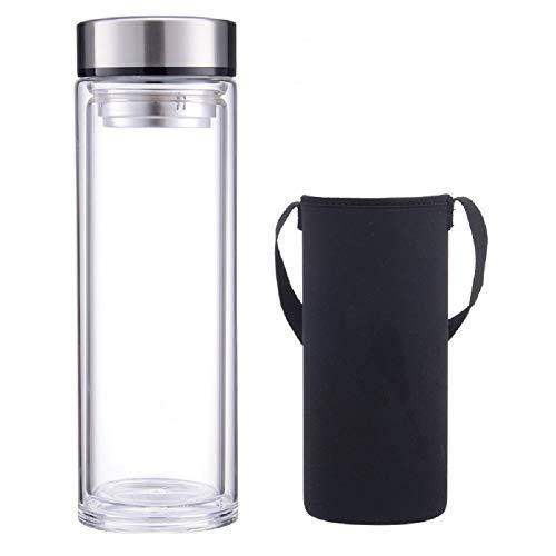 sunkey Glasflasche 1 Liter Bpa Frei Trinkflasche Glas Doppelte Walled mit Hülle Neopren Edelstahl Deckel und Abnehmbarer Teefilter