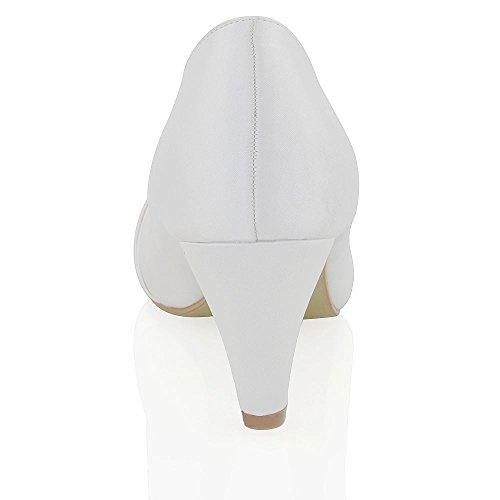 Essex Glam Damen Braut Hochzeit Glitzer Klassische Pumps Mittel Absaetze Satin Schulball Party Schuhe Weiß Satin