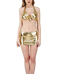 01a14c417c2 Mpitude Women s Fantasy Costume Shiny Golden Babydoll Set Sexy Front Knot  Bra with Mini Skirt Knot