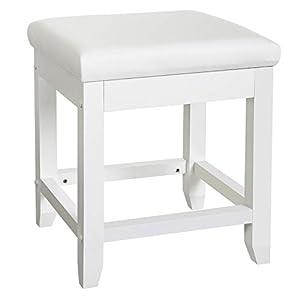 SONGMICS Schminktischhocker, Polsterhocker, Sitzhocker mit Kautschukbeinen, Schemel für Schminktisch, Klavierhocker, Schlafzimmer, Badezimmer, bis 130 kg belastbar, rechteckig, weiß RDS52W