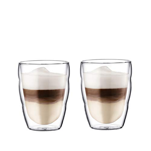 Bodum 1312-16 Columbia Cafeti/ère /à Piston Double Paroi 12 Tasses 1,5 L Inox Brillant Set de 2 verres Pavina 35 cl