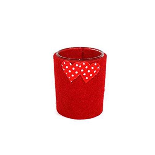 Bicchiere porta tea light vetro rosso con cuori porta candela san valentino
