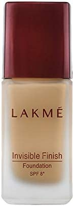 Lakme Invisible Finish SPF 8 Foundation, Shade 02, Lightweight, Water Based, Liquid Foundation For Natural Glo