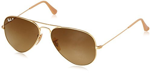 Ray-Ban Unisex-Erwachsene Sonnenbrille Aviator, Gold, 55 mm