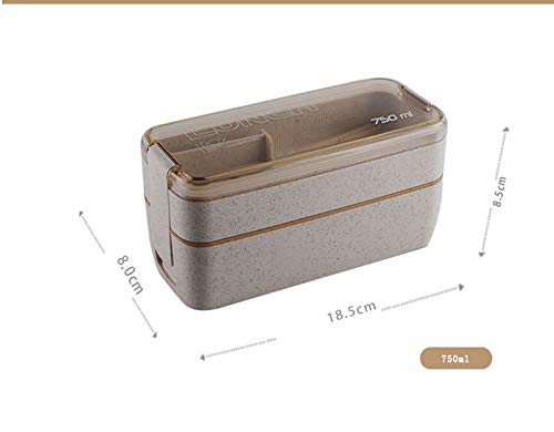 Moocevill - 750ml gesundes Material 2 Layer Lunch Box Weizenstroh Bento Boxes Mikrowelle Essgeschirr Food Storage Container Lunchbox [Beige] (Planetbox-lunch-box)