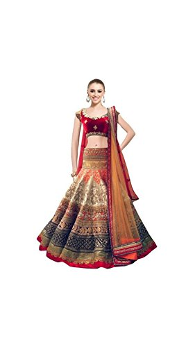Vipul Women\'s Branded RED & Multi Party Wear Georgette Lehenga (Best Gift For Mummy Mom Wife Girl Friend, Exclusive Offers and Sale Discount)