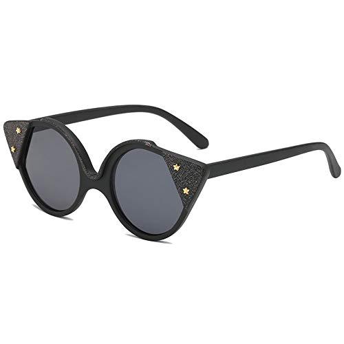 MJDABAOFA Sonnenbrillen,Marke Design Frauen Cat Eye Sonnenbrille Schwarz Gestell Schwarz Objektiv Retro Stil Weiblichen Sonnenbrille Schattierungen Mode Brillen Uv400