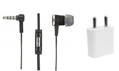 Fellkon Black Trendy Earphone and White Wall Charger Compatible with iBall Andi4-B2 IPS  available at amazon for Rs.349