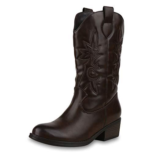 SCARPE VITA Damen Cowboystiefel Gefütterte Western Stiefel Cowboy Boots 173459 Dunkelbraun 41