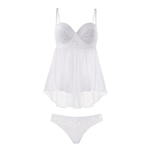 ACVIP Femme 2 Pièces Ensemble Sexy Lingerie Robe de Nuit Transparent et Culotte String Blanc Blanc