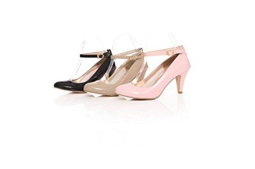 Beauqueen Pumps Freizeit Lazy Schuhe Damen Frühling und Sommer High Heel Buckle Shallow Toe Schwarz Beige Pink 34-43 Damen Freizeitschuhe Pink