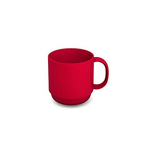 Ornamin Becher 220 ml rot (Modell 508) / Mehrweg-Becher Kunststoff, Kaffeebecher, Henkelbecher