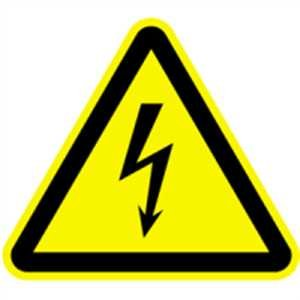 Aufkleber Warnung vor gefährlicher elektrischer Spannung gemäß ASR A1.3 / DIN 7010, 6 Stück, Folie selbstklebend 3cm (Warnschild, Strom, Hochspannung) praxisbewährt, wetterfest