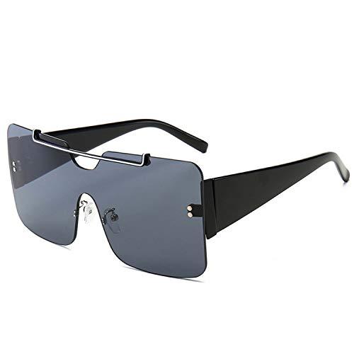 FIRM-CASE New Square übergroße Sonnenbrille Männer Frauen Metall große Feld-Sun-Glas-siamesische Gradient Lens Brille, 4