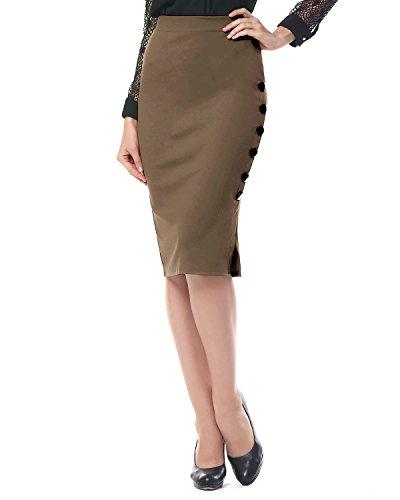 Kenancy Damen Knielang Bleistift Rock Hohe Taille Eng Jerseyrock Große Größen für Business Arbeit Rock Khaki