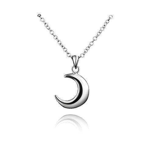 amberma 925plata de ley Collar colgante Luna, joyas, regalos para Mujeres Niñas
