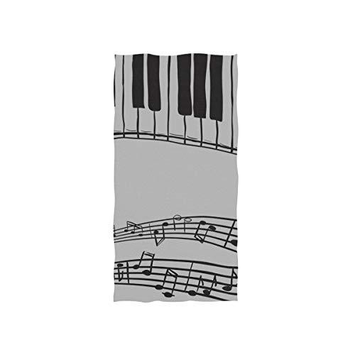 Piano Résumé Music Note Noir Doux Spa Plage Serviette De Bain Du Doigt Serviette À La Main Gant de Toilette Pour Bébé Adulte Salle De Bains Douche De Plage Wrap Hôtel Voyage Gym Sport 30x15 Pouc