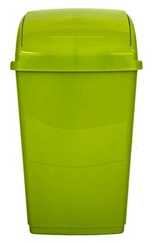 Beau Whitefurze 30Lt Lime Green Plastic Flip Top Rectangle Waste Paper Rubbish  Kitchen Office Bin