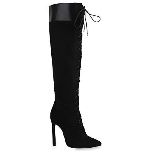 Stiefelparadies Damen Stiefel High Heels gefüttert Flandell