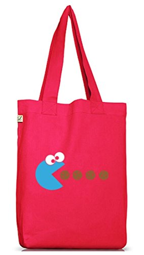 Shirtstreet24, BLUE MONSTER, Jutebeutel Stoff Tasche Earth Positive Hot Pink