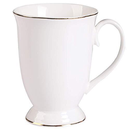 Neue Bone China Kaffee Mug 10oz Weiß Große Klassisch Vintage Design Golden Edge Kaffeetassen Fine Porzellan China Mug für Kaffee, Milchkaffee, Roter Tee -