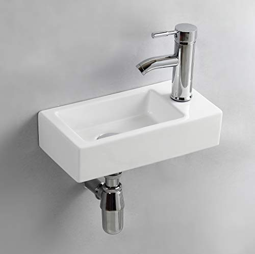 Gimify Lave Main Suspendu Lavabo Mural pour wc (Right Hand 370 * 185 * 90mm)