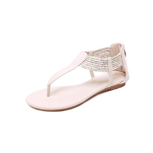 Summer Shoes Woman Sandals Classics Style Flat Sandalias Mujer 2019 Shoes for Women Gladiator Sandals Plus Size Ladies Beige 6.5