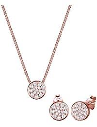 Elli  Damen-Schmuckset Halskette + Ohrringe Vergoldet Zirkonia weiß Rundschliff