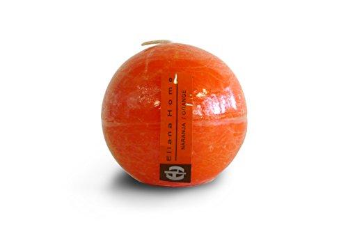 Eliana Home Vela esférica Naranja, 7.5 cm, Cera, 7.50x7.50x7.00 cm