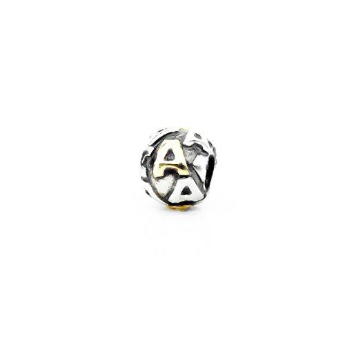 AKKI charm con lettera perline per bracciale compatibile con tutti i gioielli oro e argento