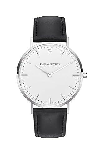 Paul Valentine Montre bracelet | Marina Argent Black | Homme & Femme Horloge avec élégant & Design intemporel et rosanem Bracelet en cuir