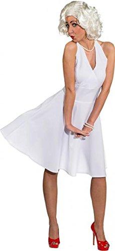 Karneval Klamotten Kostüm Neckholderkleid Marilyn weiß Dame Karneval Show Damenkostüm Größe 40 (Marilyn Monroe Kostüm Für Kinder)