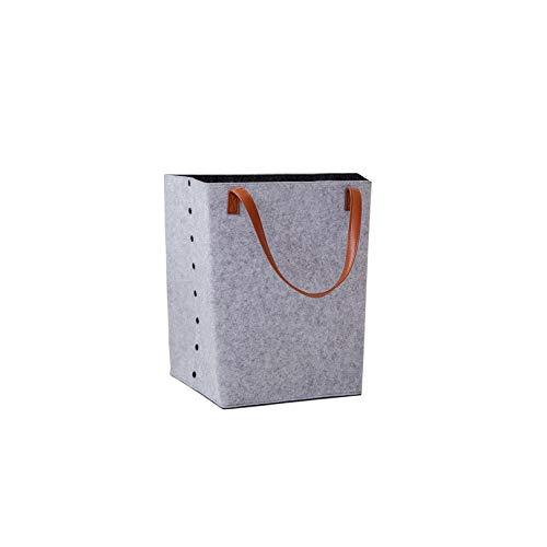 Wäschekorb mit Griffen aus Filz Non-Woven-Speicher-Korb Box Washing Clothes Box, Hellgrau -