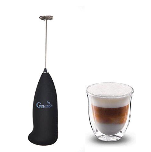 Batteriebetriebener Milchaufschäumer mit Edelstahlfeder für Cremigster Milchschaum(Cappuccino, Caffe Latte, Latte Macchiato), Getränke und Cocktails und verschiedenen Saucen