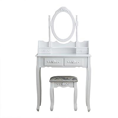 CherryTree Furniture Dressing Table 4-Drawer Makeup Dresser Set with Stool Oval Mirror - inexpensive UK light shop.