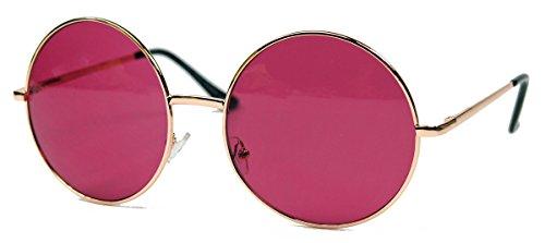 Oversized Lennon Style Damen Sonnenbrille im 60er 70er Jahre Hippie Style FARBWAHL LXL (Gold / Cassis)