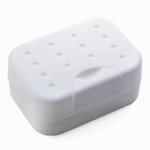 Travel Soap Box Case Holder Container – BUYDirect - Home Outdoor Hiking Camping Plastic Durable Soap Dish with Spirogyra – White